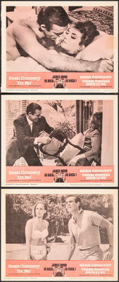 "Dr. No/From Russia with Love Combo (United Artists, R-1965). Very Fine. Lobby Cards (3) (11"" X 14""). James Bon..."