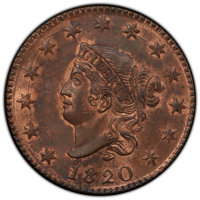 1820 1C Large Date, N-13, R.1, MS63+ Red and Brown PCGS. PCGS Population: (0/11 and 1/0+). NGC Census: (4/11 and 0/0+)...