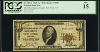 New York, NY - $10 1929 Ty. 1 The National Bank of Queens County Ch. # 13296 PCGS Fine 15