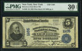 National Bank Notes:New York, New York, NY - $5 1902 Plain Back Fr. 598 Bowery & East River National Bank Ch. # 1105 PMG Very Fine 30 EPQ.. ...