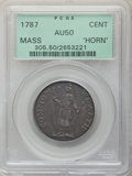 Colonials: , 1787 CENT Massachusetts Cent, Horned Eagle, AU50 PCGS. PCGS Population: (7/22). NGC Census: (2/12). ...