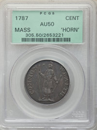 1787 CENT Massachusetts Cent, Horned Eagle, AU50 PCGS. PCGS Population: (7/22). NGC Census: (2/12). ...(PCGS# 305)