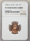 1998-S 1C Close AM PR70 Red Ultra Cameo NGC. NGC Census: (7). PCGS Population: (2)....(PCGS# 93529)