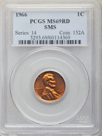 1966 1C SMS MS69 Red PCGS. PCGS Population: (1/0). NGC Census: (0/0). Mintage 2,260,000. ...(PCGS# 3293)