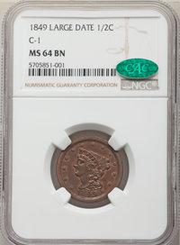 1849 1/2 C MS64 Brown NGC. CAC. NGC Census: (38/10). PCGS Population: (33/4). CDN: $1,200 Whsle. Bid for NGC/PCGS MS64...