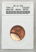Errors, Mated Pair of 1999 1C Lincoln Cents -- Broadstruck, Double Struck -- MS64 Red ANACS. An exceptional mated pair of broadstru... (Total: 2 coins)