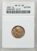 Errors, 1937 1C Lincoln Cent -- Straight Clip -- MS61 Red and Brown NGC. This lot will also include a: 1940 1C Lincoln Cent --... (Total: 2 coins)