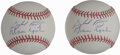 Autographs:Baseballs, Gaylord Perry and Warren Spahn Dual-Signed Baseballs Lot of 2. Eachof the clean official orbs that we see here sports a pa...
