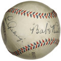 Autographs:Baseballs, Circa 1927 Babe Ruth & Lou Gehrig Signed Baseball. Whatadjective could possibly do justice to this one? In fact, we'rete...