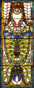 Furniture : American, A Pair of American Stained Glass Windows. Attributed to John LaFarge (1835-1910), New York, New York. Circa 1870. Glass w...(Total: 2 )