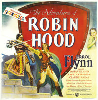 "The Adventures of Robin Hood (Warner Brothers, 1938). Six Sheet (81"" X 81""). As far as we know, this is the on..."