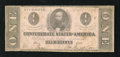 Confederate Notes:1862 Issues, T55 $1 1862. Pinholes are noted, but do not detract from the eyeappeal. Fine....