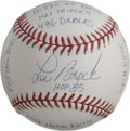 Autographs:Baseballs, Lou Brock Single Signed Stat Baseball. Clean white OML orb that wesee here has been adorned on every side panel with lengt...
