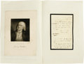 Autographs:Authors, Jeremy Bentham Writes, Philosophically, on Friendship- AutographLetter Signed. One page, on black-bordered mourning station...