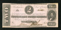 Confederate Notes:1862 Issues, T54 $2 1862. The upper right corner shows handling and a straypinhole is noticed....