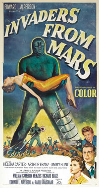 "Invaders From Mars (20th Century Fox, 1953). Three Sheet (41"" X 81""). The science-fiction, red-scare boom of t..."