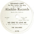 """Music Memorabilia:Recordings, Sha-Weez """"No One To Love Me""""/ """"Early Sunday Morning"""" Promo 78(Aladdin 3170, 1952). Rare is the commercial release; rarer st..."""