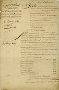 """Autographs:Non-American, Louis XVI of France Document Signed """"Louis"""" as king, twopages (front and verso) in French, 9.5"""" x 14.25"""", August 28, 17..."""
