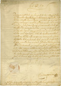 """Autographs:Non-American, Philip III of Spain Document Signed """"Yo El Rey"""" as king, one page in Spanish, 8.5"""" x 11.75"""", May 5, 1610, n.p., with sea..."""