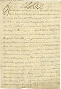 "Autographs:Non-American, Philip V of Spain Document Signed ""Yo El Rey"" as king, fourpages (front and verso) in Spanish, 8"" x 12"", August 2, 172..."