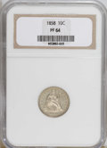 Proof Seated Dimes: , 1858 10C PR64 NGC. NGC Census: (19/26). PCGS Population (24/9).Mintage: 100. Numismedia Wsl. Price for NGC/PCGS coin in PR...