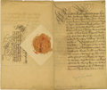 "Autographs:Non-American, Augustus II of Poland Document Signed ""Augustus Rex"" as kingand elector, four pages in German, 8"" x 13"", May 30, 1712, ..."