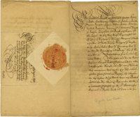 """Augustus II of Poland Document Signed """"Augustus Rex"""" as king and elector, four pages in German, 8"""" x 13&q..."""