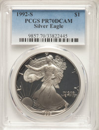 1992-S $1 Silver Eagle PR70 Deep Cameo PCGS. PCGS Population: (1740). NGC Census: (1549). CDN: $180 Whsle. Bid for NGC/P...