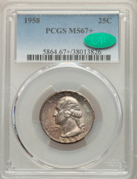 1958 25C MS67+ PCGS. CAC. PCGS Population: (339/0 and 22/0+). NGC Census: (614/2 and 12/0+). Mintage 6,300,000....(PCGS#...