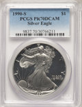 1990-S $1 Silver Eagle PR70 Deep Cameo PCGS. PCGS Population: (3252). NGC Census: (2477). CDN: $130 Whsle. Bid for NGC/P...