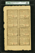 Rhode Island July 2, 1780 Uncut Single Pane Sheet of $5-$7-$8-$20/$1-$2-$3-$4 Fr. RI-286-287-288-289/282-283-284-285 PMG...