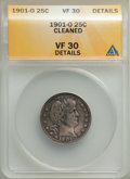 Barber Quarters, 1901-O 25C -- Cleaned -- ANACS. VF30 Details. Mintage 1,612,000....