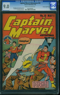 Captain Marvel Adventures #10 - Crowley Copy/File Copy (Fawcett Publications, 1942) CGC VF/NM 9.0 Cream to off-white pag...