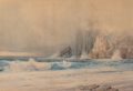 Works on Paper, William Trost Richards (American, 1833-1905). A Rocky Coast, 1897. Watercolor and pencil on paper laid on board. 16 x 25...