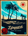 Prints & Multiples, Shepard Fairey (b. 1970). Lifeguard Not on Duty, 2014. HPM in colors on panel. 24 x 18 inches (61 x 45.7 cm). Ed. 1/6. S...