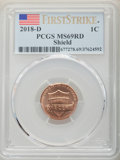 2018-D 1C Shield, First Strike MS69 Red PCGS. PCGS Population: (15/0). NGC Census: (0/0). ...(PCGS# 677278)