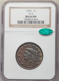 1833 1C N-5, R.1, MS64 Brown NGC. CAC. NGC Census: (3/0). PCGS Population: (2/0). MS64. Mintage 2,739,000. ...(PCGS# 370...