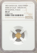 California Gold Charms, 1853-Dated California Gold Token Arms Of California - Wreath #5, Octagonal MS67 NGC. 9.5 mm. PCGS Populat...