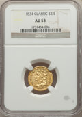 Classic Quarter Eagles: , 1834 $2 1/2 AU53 NGC. NGC Census: (98/782). PCGS Population: (92/428). CDN: $925 Whsle. Bid for NGC/PCGS AU53. Mintage 112,...