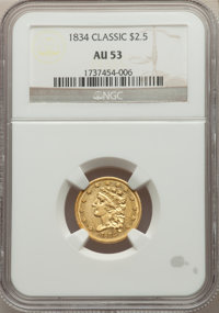 1834 $2 1/2 AU53 NGC. NGC Census: (98/782). PCGS Population: (92/428). CDN: $925 Whsle. Bid for NGC/PCGS AU53. Mintage 1...