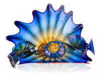 Dale Chihuly (American, b. 1941) Eight-Piece Cobalt Seaform Group with Red Lip Wrap, 1994 Glass, with original case 1...
