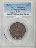 Large Cents, 1839 1C Head of 1838, Beaded Cords, N-2, R.2, MS64 Brown PCGS. PCGS Population: (6/2). NGC Census: (2/3). MS64. Mintage 3,1...