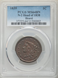 1839 1C Head of 1838, Beaded Cords, N-2, R.2, MS64 Brown PCGS. PCGS Population: (6/2). NGC Census: (2/3). MS64. Mintage...
