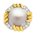 Estate Jewelry:Rings, Mabe Pearl, Diamond, Gold Ring, David Webb . ...