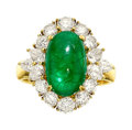 Estate Jewelry:Rings, Emerald, Diamond, Gold Ring The ring features ...