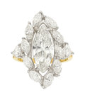 Estate Jewelry:Rings, Diamond, Gold Ring The ring features a marqui...