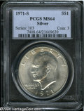 Eisenhower Dollars: , 1971-S Silver MS64 PCGS. ...