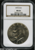 Eisenhower Dollars: , 1973-D MS65 NGC. ...