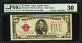 Small Size:Legal Tender Notes, Georgia Neese Clark Courtesy Autographed Fr. 1531 $5 1928F Wide I Legal Tender Note. PMG Very Fine 30.. ...