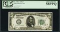 Fr. 1950-E $5 1928 Federal Reserve Note. PCGS Choice About New 58PPQ
